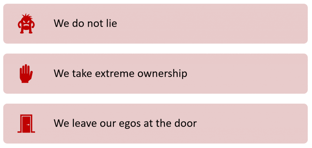 meddkit's values: we do not lie; we take extreme ownership; we leave our egos at the door