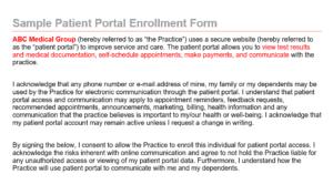 Patient Portal Enrollment Form thumbnail